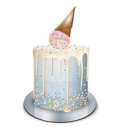 Modern cake ice cream cone on top realistic vector
