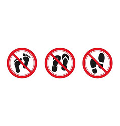 no foot slipper and shoes sign red prohibitation vector image