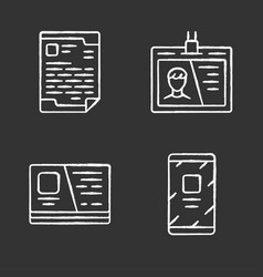 office supplies chalk icons set businessman tools vector image