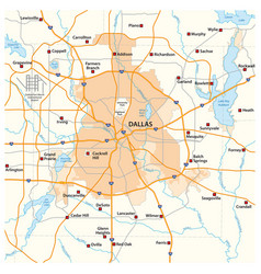 Overview and street map texas city dallas vector