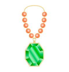 Peridot necklace mockup realistic style vector