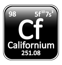 Periodic table element californium icon vector