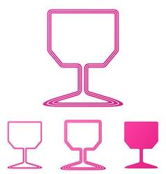 Pink wine glass logo design set vector image