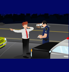 police conducting a dui test for a drunk driver vector image