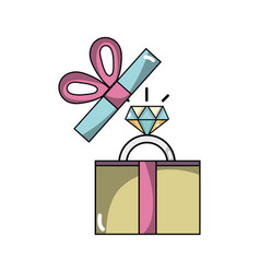 Present gift with wedding ring accessory vector