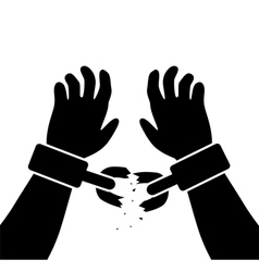 raised hands with broken chains vector image