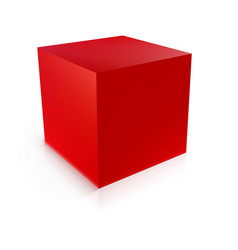 Red cube geometric icon isolated on white vector