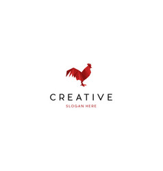 Red rooster creative logo vector