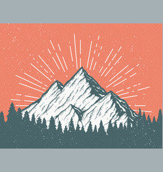 Retro mountain postcard vector