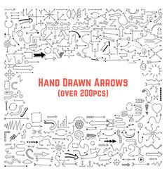 set black hand drawn arrows vector image