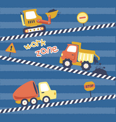 Set construction vehicles or heavy tools with vector