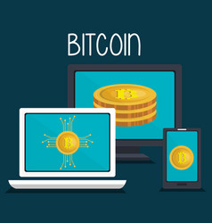 set devices electronics with bitcoins vector image