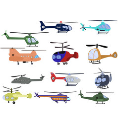 Set helicopters different kind aircrafts vector