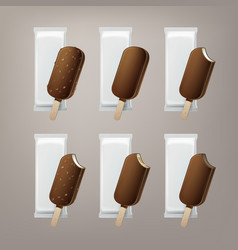 Set ice cream in glaze on stick with nuts vector