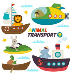 Set isolated sea transports with animals vector