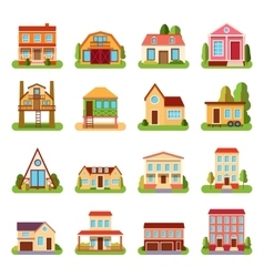 Set of detailed colorful cottage house building vector image