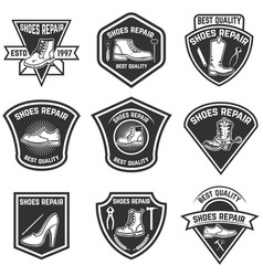 Set of shoe repair emblems isolated on white vector