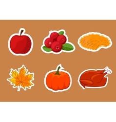 Set of stickers for Happy Thanksgiving Day Badge vector image vector image