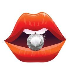 Sexy lips with diamond - vector