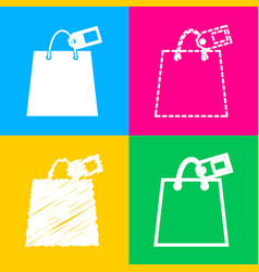 shopping bag sign with tag four styles of icon on vector image