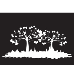 Silhouettes of two trees vector