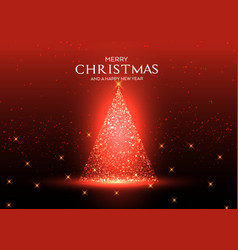 sparkling christmas tree background vector image