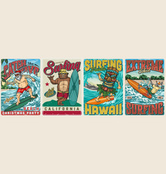 surfing vintage colorful posters vector image
