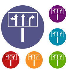 Traffic lanes at crossroads junction icons set vector