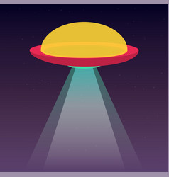 Ufo spaceship with light beam in space stars vector