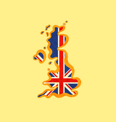 united kingdom - map colored with british flag vector image