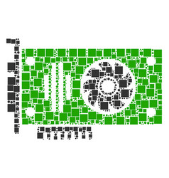 Video gpu card mosaic of squares and circles vector
