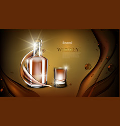 whiskey bottle mock up closed glass alcohol flask vector image