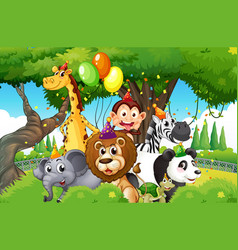 wild animals with party theme in nature forest vector image
