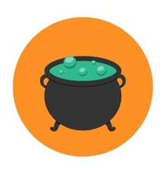 witch cauldron icon flat vector image