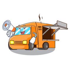 With megaphone rendering cartoon of food truck vector