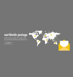 worldwide postage concept banner web infographic vector image