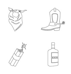 bandage boots dynamite and a bottle of whiskey vector image