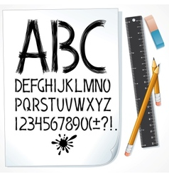 Hand Drawn Sketch Alphabet on Paper Image vector image