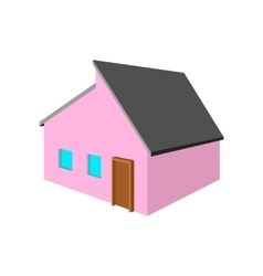 Pink small cottage cartoon icon vector image