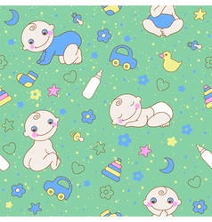 Seamless pattern with cute newborn baby boy vector image