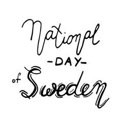 sweden national day lettering vector image vector image