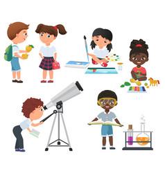 cute pupils activity in school set little vector image