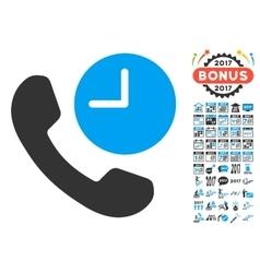 Phone Time Icon With 2017 Year Bonus Symbols vector image