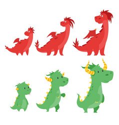 set of cute dragons vector image