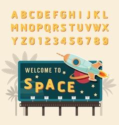 vintage space rocket billboard sign vintage vector image
