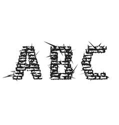 Black decorative aggressive brick styled font vector image vector image
