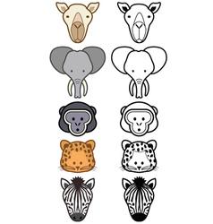 cartoon zoo animals set vector image vector image