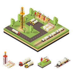colorful isometric oil extraction composition vector image vector image