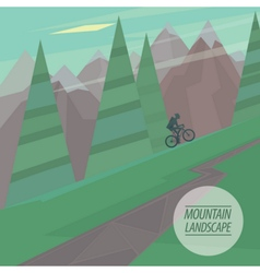 Flat mountain landscape with steep slopes trees vector image