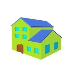 Green three-storey house cartoon icon vector image